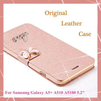 Original Wallet Pu Leather Luxury Case For Samsung Galaxy A5 2016 A5+ A510 A5100 Phone Case + Screen Protection(not For A5 2015)