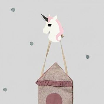 Gorgeous Wooden Cute Unicorn Hanger Clothes Hook Children Wall Mounted Home Room Decor