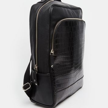 ASOS Smart Backpack In Black Leather With Crocodile Front Pocket