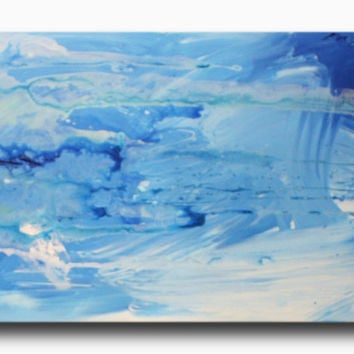 Abstract art canvas painting  blue 150cm x 50cm