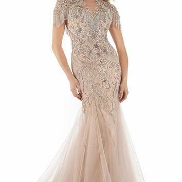 Morrell Maxie - 15899 Embellished Fringed Tulle Trumpet Gown