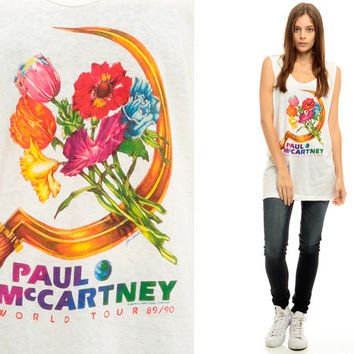 Paul McCartney Shirt 89 90 World Tour Band Tee Vintage White 90s Rock Tank Top Beatles Concert Sheer Burnout Floral Cotton Small Medium xs