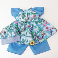 "3p Blue Flower Dragonfly Dress Hat HANDMADE Clothes for Bitty Baby 15"" Girl Doll"