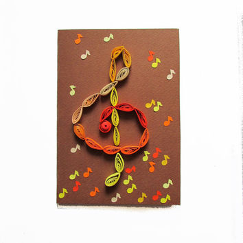 Treble Clef Quilling Card, Music Greeting Card with Quilled Treble Clef and Notes in Autumn Colors