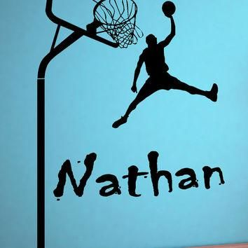 Wall art Custom Large Basketball Player choose ANY NAME Vinyl wall Decal sticker decor