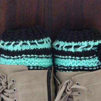 BOOT CUFFS Socks  Leg Warmers Striped Neon green and Black Boot Socks, COLOR Black and Red Hand Knit Gift,