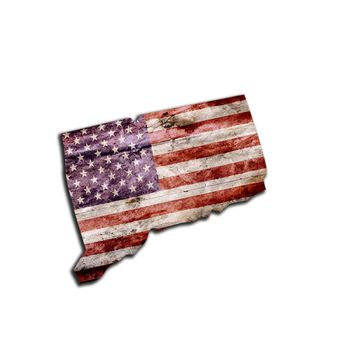 Connecticut Distressed Tattered Subdued USA American Flag Vinyl Sticker