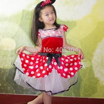 Free shipping ,new style children girl red Minnie Mouse party dress costume headband Cosplay party cartoon costume