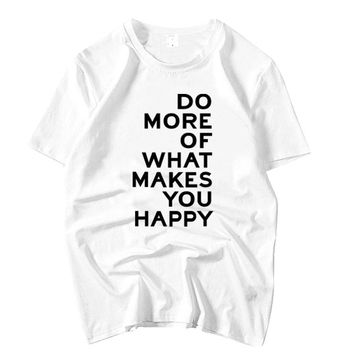 Apink Nam Joo same do more of what makes you happy printing short sleeve t shirt for summer kpop unisex o neck loose t-shirt