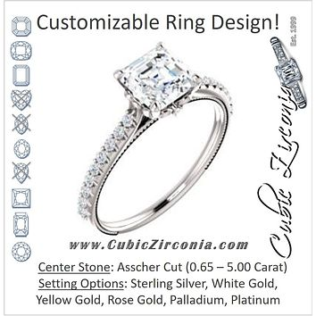Cubic Zirconia Engagement Ring- The Delanie (Customizable Cathedral-set Asscher Cut Style with Thin Pavé Band, Inlaid Milgrain and Tiny Peekaboo Accents)