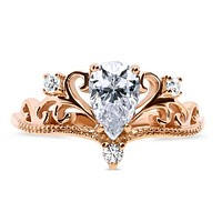 The Crown, A Vintage Style 14K Rose Gold .90CT Pear Cut Russian Lab Diamond Engagement Ring