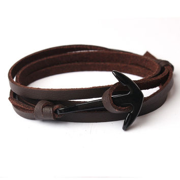 Coffee Anchor Leather Bracelet