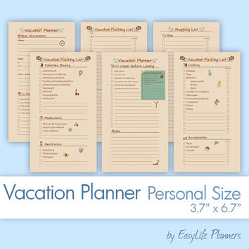 """VACATION Planner Personal Size (3.7""""x6.7""""). Retro Packing, Shopping List Printable pdf. Travel organizer. 6 documents. Instant Download"""