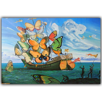 Salvador Dali Surrealism Abstract Painting Butterfly Sailboat Art Vintage Posters Photos Home Decoration Silk HH157