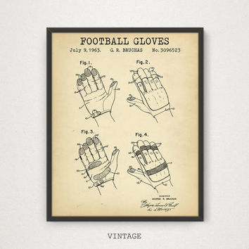 Football Gloves Patent Print, Digital Download Printable Art, Football Gifts, American Football Poster, Football Party Decor, Sports Patent