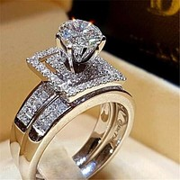 Deluxe Promise Ring Bridal sets 925 Sterling silver AAAAA Cz stone Engagement wedding band rings for women Jewelry Best Gift