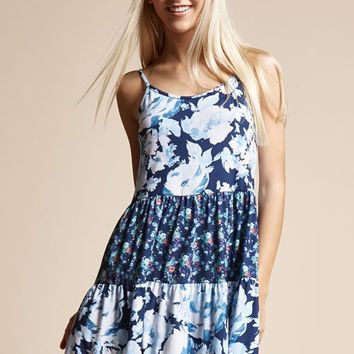 Nicole Navy Floral Tri- Print Sundress