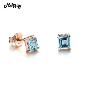 MoBuy MBEI046 Square Blue Natrual Gemstone 4mm Topaz Stud Earrings 925 Sterling Silver White Gold Plated S925 Jewelry For Women