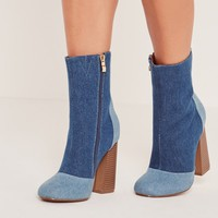 Missguided - Patchwork Denim Ankle Boots