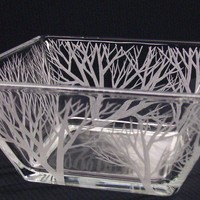 READY TO SHIP Engraved Glass Tapered Bowl . 'Reaching Branches'  Wedding Centerpiece Outdoor Decoration Candle Holder