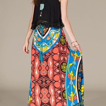 Eliza Bella for Flying Tomato Bohemian Piece Print Maxi Skirt Size SML
