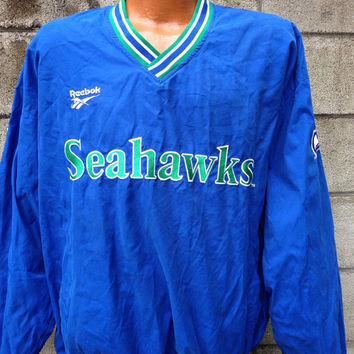 Seahawks Jacket Windbreaker Vintage Seattle Warm Up Reebok Pro Line Size L
