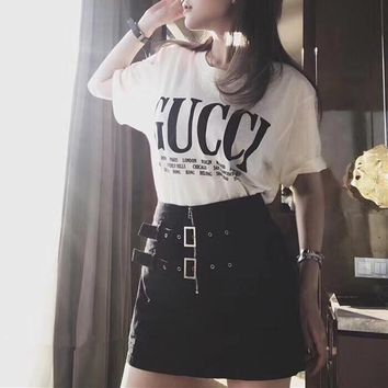 """Gucci"" Women Casual Show Thin Fashion Short Sleeve Letter Print T-shirt High Waist Short Skirt Culottes Set Two-Piece"