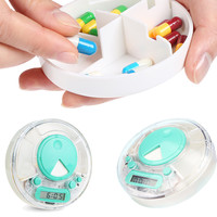 Digital LCD Pill Case Box Timer Alarm Clock Reminder Medicine Organizer Container 3 compartments Health Care Portable Daily Use