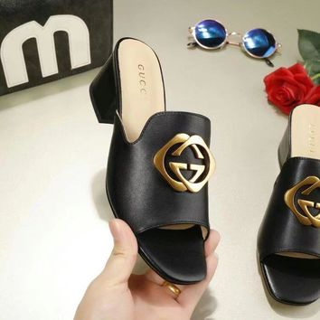 GUCCI 2018 Women Fashion Casual Heels Shoes Sandals Shoes