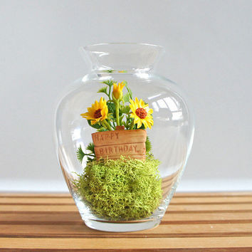 Tiny Happy Birthday Sunflower Terrarium by Miss Moss Gifts