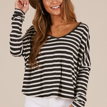 A Perfect Day top in black stripe Produced By SHOWPO
