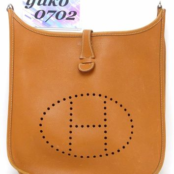 r58390 Auth HERMES Evelyne PMⅡCognac Epsom Leather Shoulder Bag □J 2006 SHW
