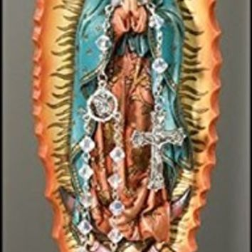 Our Lady of Guadalupe Resin Rosary Relic Holder Marian Icon Figurine Statue, 8 Inch
