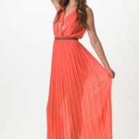 Coral Pleated Maxi