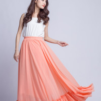 High Waist Women Skirt Chiffon Maxi Skirts Beautiful Elastic Waist Summer Skirt Floor Length Party Skirt(301) ,Pink
