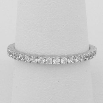 2mm Thin Pave Wedding Band - Cubic Zirconia Almost Eternity Stacking Ring (Silver) by CZ Sparkle Jewelry®