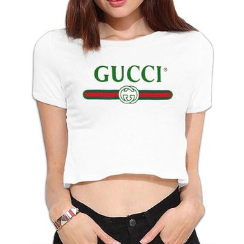 UanshanH Women's Sexy Exposed Belly Button T-Shirt Gucci Logo Printed Pattern Short Sleeves Tees Tops
