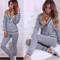 Sexy fashion Women V Collar contrast color Sports Pants casual Sportswear Two piece Suit