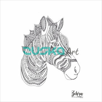Zebra adult coloring page | Instant download | Adult coloring book | Printable | Boho coloring page | Hippie coloring page | Colouring