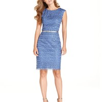 Luxology Dress, Cap-Sleeve Glitter Lace Belted Sheath - Dresses - Women - Macy's