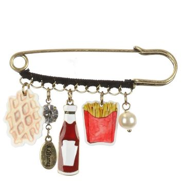 Mulit Color Fast Food Charm Pin And Brooch