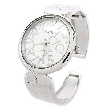 Silver Floral Dial Metal Band Large Face Women's Bangle Cuff Watch