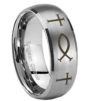 8MM Classic Satin Silver Dome Fish & Cross Tungsten Laser Engraved Ring