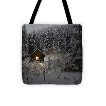 Cabin In Winter - Tote Bag