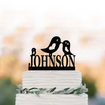 Personalized Wedding Cake topper with birds, family cake topper for wedding, custom wedding cake topper funny