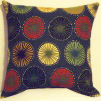 "Pillow Covers 18"" Set of Two-Blue Red Yellow Green Orange Circular Pattern"