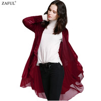 New Arrival Women Autumn Winter Chiffon Patchwork Swingy Velvet Long Sleeve Black Red Loose Outwear Outfit Long Trech Coat