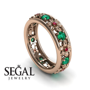 Anniversary ring 14K Red Gold Flowers Vintage Green Emerald And Ruby - Victoria