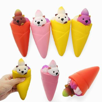 Squishy Ice Cream Bear Strawberry 16cm Soft Slow Rising Collection Gift Decor Toy