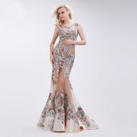 Floral Applique Transparent Tulle Trumpet Gown
